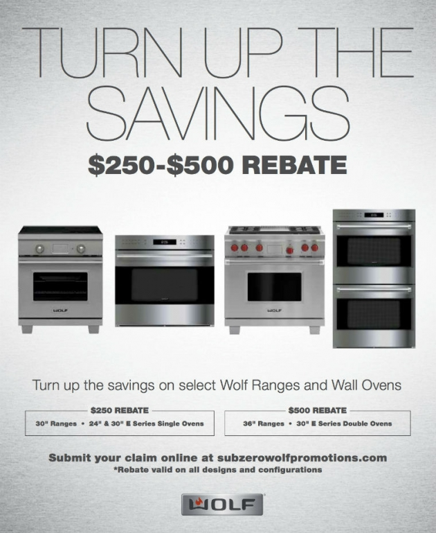 "Universal Turns Up The Heat With Wolf's ""Turn Up The Savings"" Rebates: Get Up To $500 Rebate On Select Ranges & Wall Ovens"