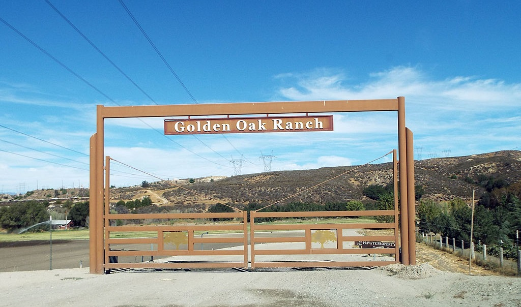 Entrance to the Golden Oak Ranch in Canyon Country, California.