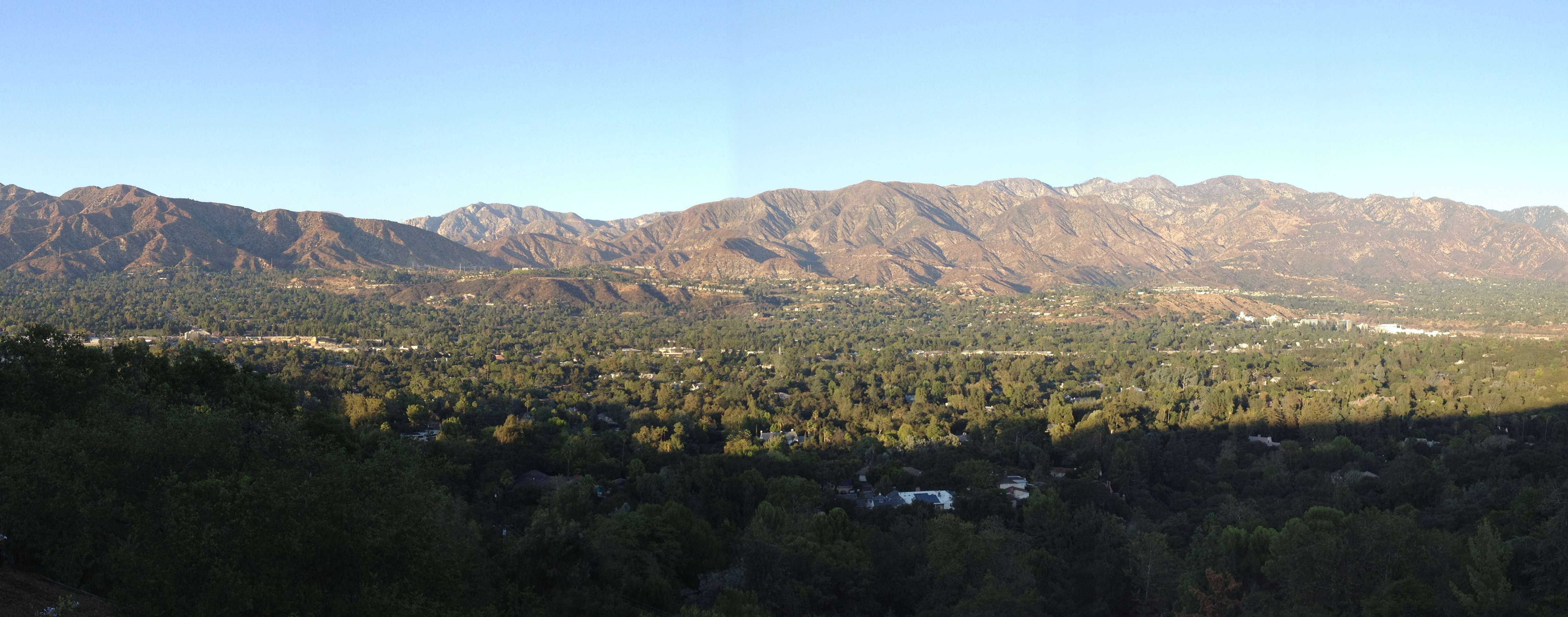 Panoramic view of San Gabriel Mountains from La Canada Flintridge, California.