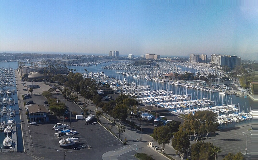 Panoramic view of the marina from a nearby office building