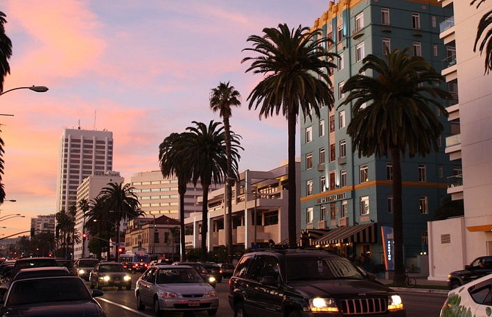 Ocean Avenue at sunset in Santa Monica, California
